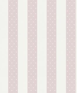Vliestapete Kinder Streifen Einhörner Herzen Sterne Glitzer rosa weiß