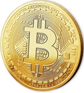 Bitcoin Münze mit 24-Karat Echt-Gold überzogen