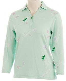 Wild Green Mille Fleur Dreiviertelarm Poloshirt für Damen