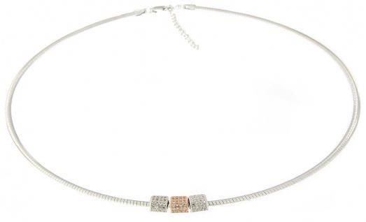 Omega Halsreif Silber 925 Anhänger bicolor Rosegold Zirkonias Collier massiv