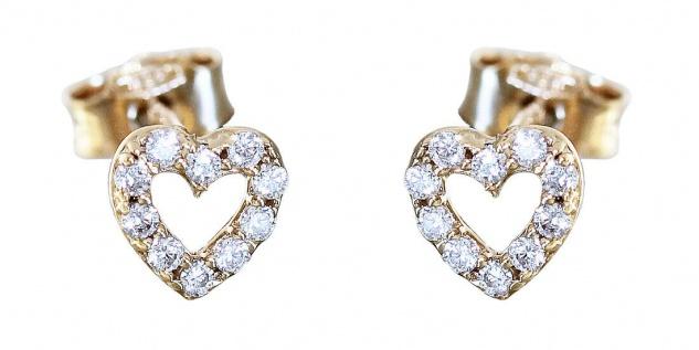 Herz Ohrstecker Gold 585 kleine Ohrringe mit Zirkonias Herzen Mädchen Kinder