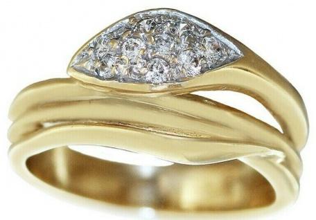 Ring Gold 585 Schlangenring mit Zirkonias Damen Goldring RW 52