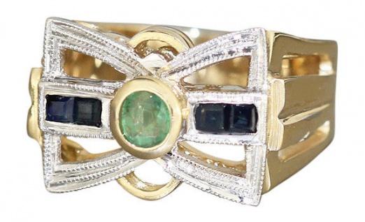 Goldring 585 mit Saphir und Smaragd Ring Gold Damenring bicolor 14 kt Safirring