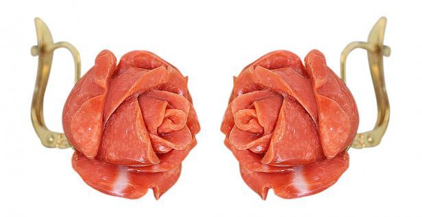 Ohrhänger Gold 750 mit Korallenrosen Ohrschmuck Koralle Rosen Ohrringe 18 KT