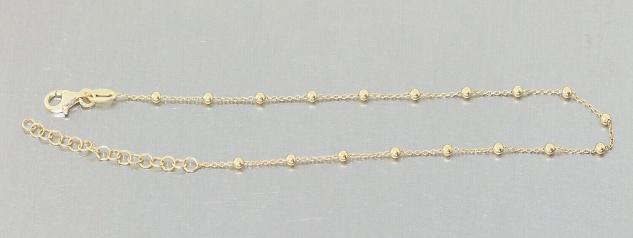 Fußkette Silber 925 vergoldet Kugelkette Karabiner Fußkettchen Damen