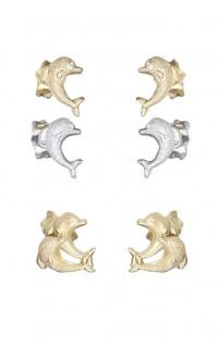 Delfin Ohrstecker Gold 585 oder Weißgold 585 diamantiert Goldohrstecker Delfine