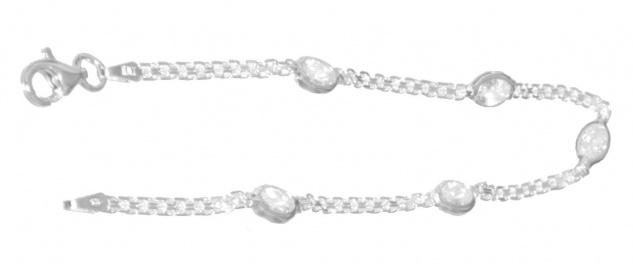 Armband Silber 925 Zirkonias Navette Armkette massiv Karabiner Damen Armschmuck - Vorschau 2