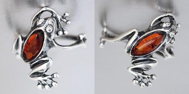 Ring Silber 925 Frosch mit Bernstein echt Sterlingsilber Silberfrosch Damen