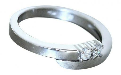 Eleganter Ring Weißgold 585 mit Zirkonias Weißgoldring massiv 14 kt Gold