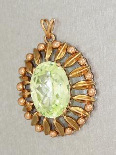 Ovaler Anhänger Gold 585 / 14 Karat mit hellgrünem Kristall Goldanhänger Gold