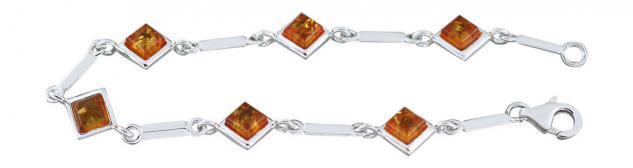 Silberarmband 925 mit Bernsteinen Armband Silber Armkette Bernsteinarmband 19 cm