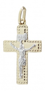Kreuz Gold 585 mit Korpus - Anhänger Goldkreuz 14 kt - Goldanhänger bicolor