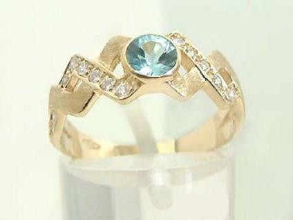 Traumhafter Goldring 585 mit Brillanten und Blautopaz Brillantring Ring Gold