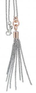 Silberkette 925 Anhänger lange Quaste Kette Silber bicolor Collier Halskette
