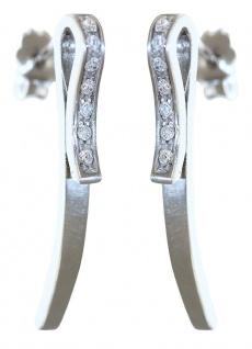 Langer Ohrschmuck Weißgold 585 mit Zirkonias Ohrringe Ohrhänger 14 kt Ohrstecker