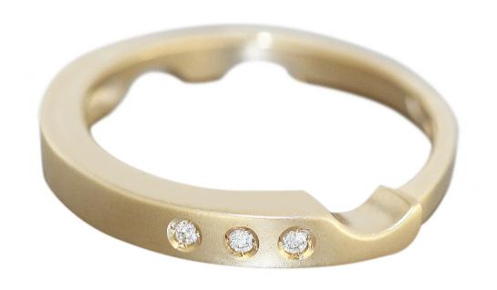 Ring Gold 585 massiv Brillantring Goldring Damen 14 Karat 3 Brillanten