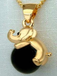 Entzückender Elefant auf Kugel - Anhänger und Kette Goldkette pl Panzerkette pl