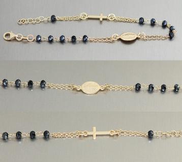 Rosenkranz Armband Silber 925 vergoldet mit schwarzen Perlen Kreuz u Maria