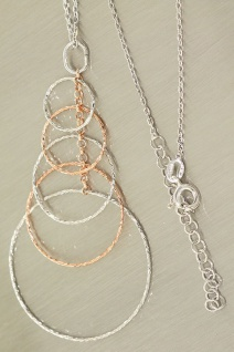 Collier Silber und Gold pl Silberkette und langer Anhänger echt Silber 925 Kette