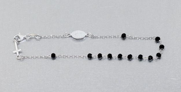 Rosenkranz Armband Silber 925 rhodiniert schwarze Perlen Kreuz Maria 22, 5 cm