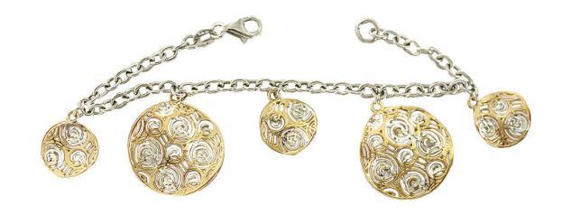 Massives Silberarmband 925 Anhänger Gold Bettelarmband Kette
