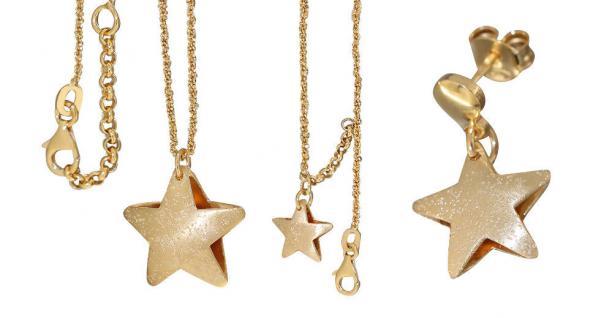 Schmuckset Stern Silber 925 Gold Silberkette Anhänger Armband Ohrstecker Sterne