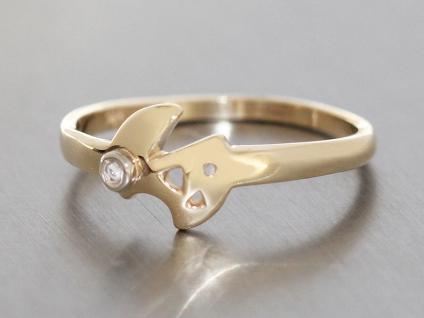 Zarter Diamantring moderner Goldring 585 mit Diamant Ring Gold Damenring 14 kt
