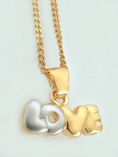 Love Schmuckset Gold pl Kette und Anhänger Goldkette pl Panzerkette Halskette