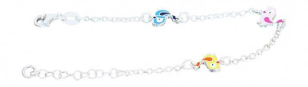 Armband Silber 925 Kinder Vogel Armkette massiv Mädchen Karabiner Vögelchen - Vorschau 2