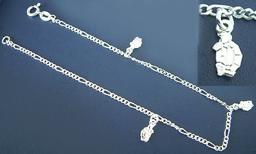 Massives Fußkettchen Silber 925 mit Schildkröten - Silberkette