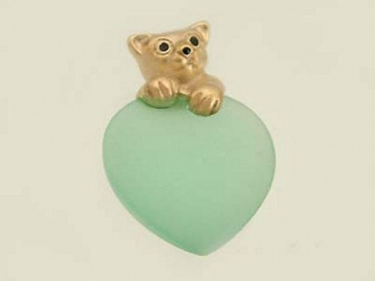 Goldener Teddybär 375 auf hellgrünem Herz Anhänger Teddy Gold 9kt Goldanhänger