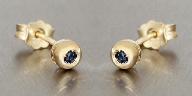 Ohrstecker Gold 585 Saphir 4, 5 mm Stecker Ohrringe Safir Gelbgold 14 Karat
