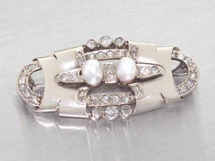 Art Deco Brosche Weißgold 585 mit Diamanten und Perlen - antike Weißgoldbrosche
