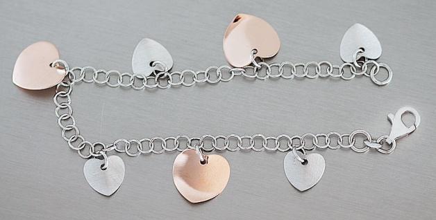 Silberarmband 925 Rotgold mit Herzen Armband Silber Herz Anhänger Bettelarmband