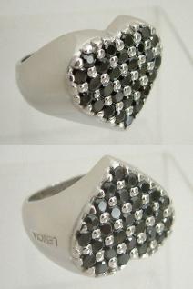 Silberring 925 großes Herz schwarze Zirkonia Ring Silber 925