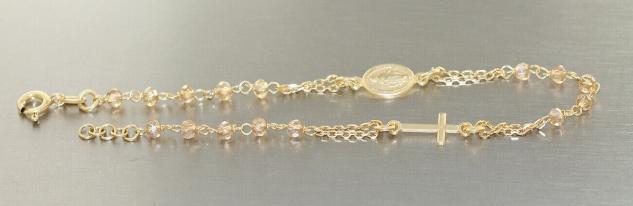 Rosenkranz Armband Silber 925 Rotgold Gold od Gelbgold Rosario Kreuz Maria