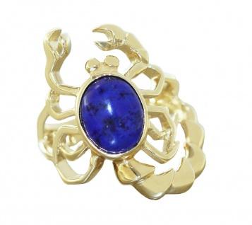 Ring Gold 585 massiv Skorpion mit Lapis Lazuli Goldring 14 Kt Damen Sternzeichen