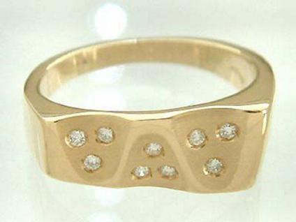 Designerring Brillant - massiver Goldring 585 - Ring Gold Damenring 9 Brillanten