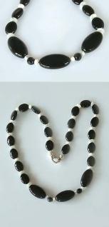 Onyxkette mit Perlmutt schwarz weiss Collier Onyx Halskette