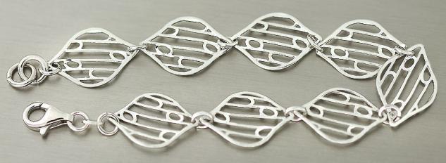 Modernes Armband Silber 925 - Silberarmband rhodiniert - Armkette - Damenarmband