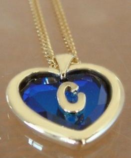 C Schmuckset vergoldet Kette mit Herz Anhänger Buchstabe C Kristallherz