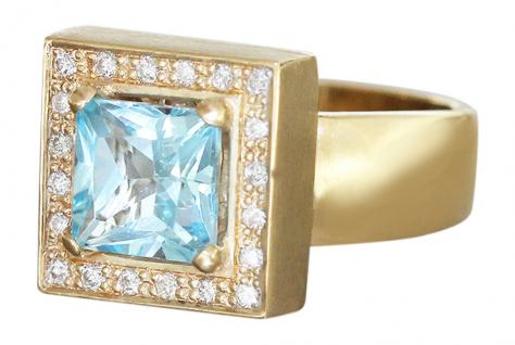 Designerring Gold 585 mit Brillanten und Blautopas Goldring Brillantring Ring