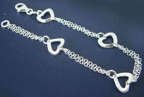 Zwei Reihen Silberarmband 925 Armband Silber mit Herzen Armkette