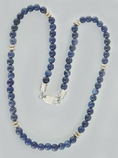 Blaue Sodalith Perlenkette Collier aus Sodalith Kugeln Kette Silber Halskette