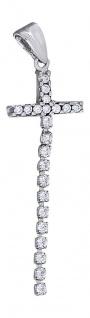 Langer beweglicher Kreuz Anhänger Weißgold 585 mit Zirkonia - Weißgoldkreuz Gold