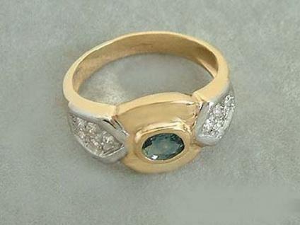 Sehr schöner Ring in Gold 585 mit Saphir und Zirkonias edler Goldring Damenring