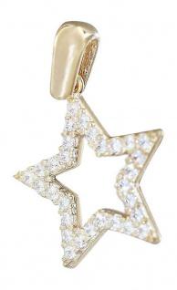 Kleiner Stern Gold 585 m Zirkonias Anhänger Glitzerstern Sternchen Gelbgold 14 K
