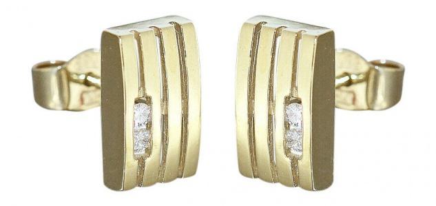Ohrstecker Gold 585 Brillanten 0, 08 ct Goldohrstecker mit Diamanten Ohrringe