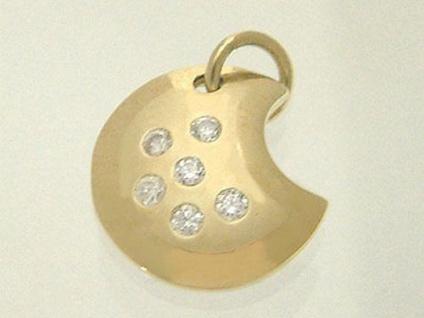 Anhänger Gold 585 Zirkonias Mond mit Zirkonia Sternen Goldanhänger 14 Karat