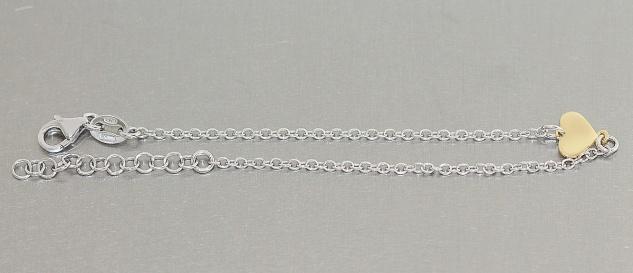 Feines Armband Silber 925 mit Herz vergoldet Silberarmband Goldherz Armkette